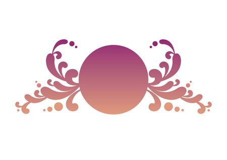Round pink floral vector logo. Purple floral logo isolated on white background. Delicate feminine logo icon. Romantic purple round vector logo. Luxury purple vector logo