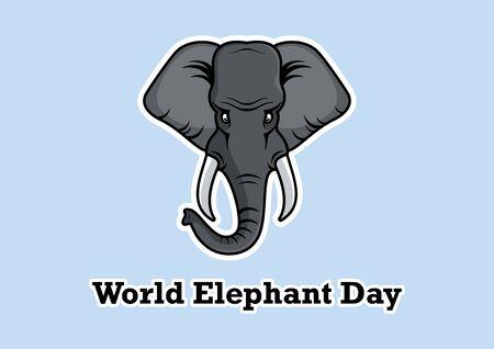 Vector Illustration Keywords: Vector Illustration Keywords: World Elephant Day Poster, August 12. Elephant cartoon character. Important day