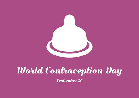 Vector Illustration Keywords: Condom icon vector. Condom on a pink background. Condom silhouette vector. World Contraception Day Poster 向量圖像