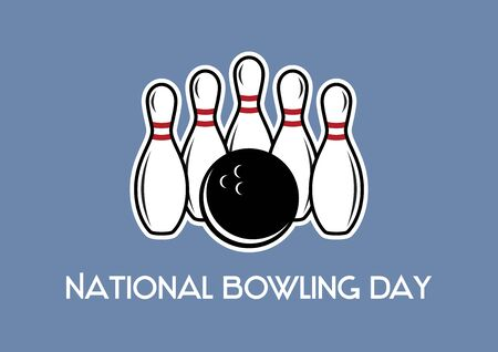 Vector Illustration Keywords: Bowling and bowling pins. Vector Illustration Keywords: Bowling vector icon. National Bowling Day Poster 向量圖像