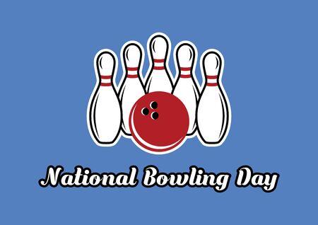 Vector Illustration Keywords: Bowling pins vector. Bowling vector icon. National Bowling Day Poster 向量圖像