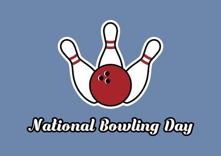 Vector Illustration Keywords: Three bowling pins. Bowling vector icon. National Bowling Day Poster