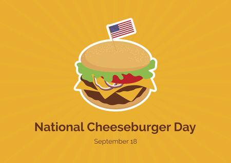 Vector Illustration Keywords: Burger cartoon. Cheeseburger vector. Cheeseburger with american flag vector. American Food & Beverage Holiday. Important day 向量圖像