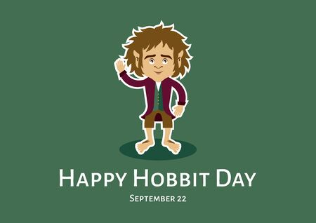 Vector Illustration Keywords: Hobbit cartoon character. Vector Illustration Keywords: Vector Illustration Keywords: Happy Hobbit Day Poster, September 22 Illustration