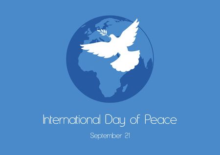 Vector Illustration Keywords: Vector Illustration Keywords: Planet Earth. Silhouette of a dove on a blue background. International Day of Peace Poster, September 21 向量圖像