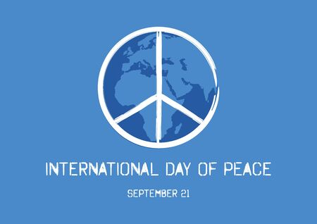 Vector Illustration Keywords: Peace symbol vector. Peace Symbol with Planet Earth. International Day of Peace Poster, September 21