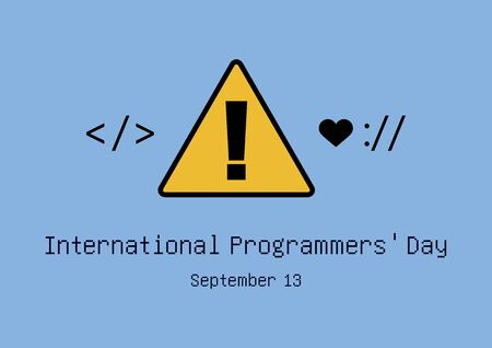 Vector Illustration Keywords: Day of the Programmer. Programming icons. Software symbol collection. Yellow exclamation mark vector. International Programmers Day Poster, September 13th. Important day