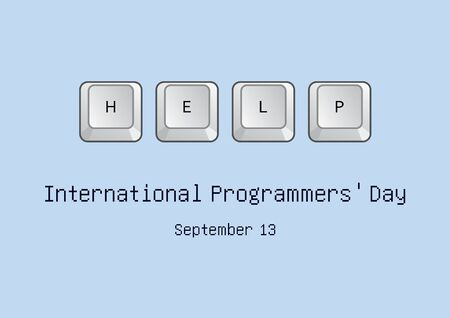 Vector Illustration Keywords: Vector Illustration Keywords: Keyboard on blue background. Help on the keyboard. International Programmers' Day Poster, September 13th. Important day Banco de Imagens - 128434214