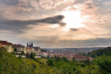 Prague Castle panorama stock images. Sunrise over Prague stock images. Ancient architecture in Prague. Prague Old Town. View of Hradcany. Parks and open spaces in Prague