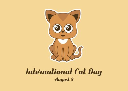 Vector Illustration Keywords: Cute rusty kitten vector. Cat on brown background. Sitting kitten cartoon character. Cat Day Poster, August 8. Important day 向量圖像