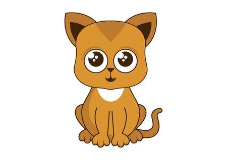 Cute little red kitten vector illustration. Cute rusty kitten vector. Cat isolated on white background. Sitting kitten cartoon character