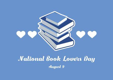 Vector Illustration Keywords: Vector Illustration Keywords: Blue books icon. National Book Lovers Day Poster, August 9