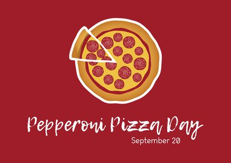 Pepperoni Pizza Day vector. Salami pizza vector. Pepperoni Pizza Day Poster, September 20. Pieces of pizza icon. American food Фото со стока - 128709029