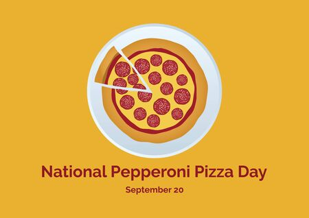 Pepperoni Pizza Day vector. Salami pizza vector. Pepperoni pizza on a plate. Pepperoni Pizza Day Poster, September 20. Pieces of pizza icon. American food Фото со стока - 128709025