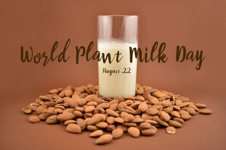 World Plant Milk Day stock images. Almond milk stock images. Glass of milk isolated on white background. Vegan milk substitute. Healthy snack. Pile of almonds. Alternative to dairy Zdjęcie Seryjne