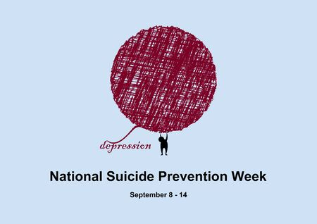National Suicide Prevention Week. Abstract illustration of sadness. Fight disease. Vector Illustration Keywords: Suicide Prevention Week Poster, September 8 - 14 Ilustracja