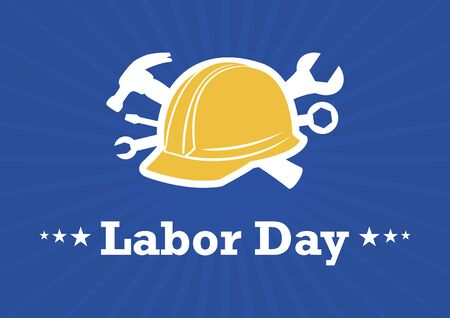 Vector Illustration Keywords: Yellow protective helmet with tools. Labor Day Poster, public holiday in the United States of America. Important day