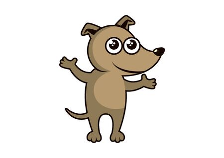 Cute puppy cartoon character. Brown dog icon. Vector Illustration Keywords: Dog isolated on white background Ilustracja