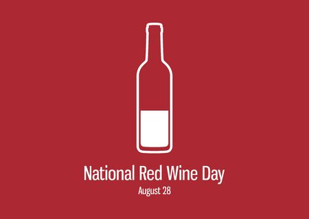 Vector Illustration Keywords: Vector Illustration Keywords: Vector Illustration Keywords: Bottle of wine on a red background. Red Wine Day Poster Ilustracja