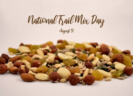 National Trail Mix Day illustration. Mix nuts and seeds stock images. Different types of nuts. Healthy snack. Trail Mix Day Poster