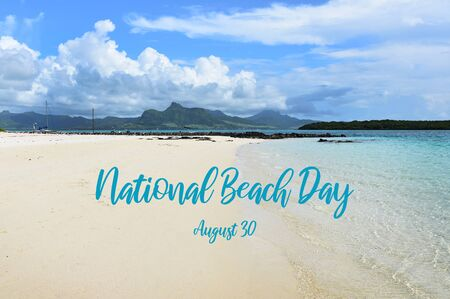 National Beach Day illustration. White sandy beach on Mauritius. Coast with clouds. Summer landscape