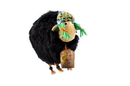 Sheep toy stock images. Plush sheep toy. Black sheep isolated on white background