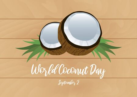 Vector Illustration Keywords: Halved coconut icon. Coconut icon isolated on white background. Vector Illustration Keywords: Coconut Day Poster Ilustracja