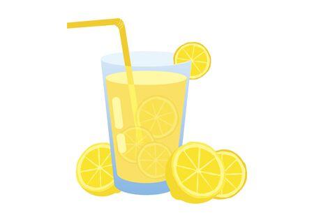 Vector Illustration Keywords: Vector Illustration Keywords: Glass of lemonade isolated on a white background. Lemon slice icon. Yellow lemon vector