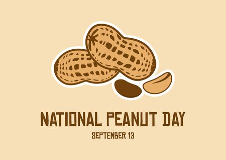 Vector Illustration Keywords: Vector Illustration Keywords: Peanuts isolated on white background. American delicacy. Peanut Day Poster, September 13th. Important day Ilustracja