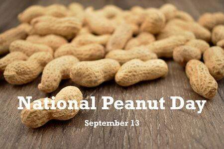 Peanut Day illustration. Peanuts on wooden background stock images. Pile of Peanuts with Nutshell. Roasted Peanuts. American delicacy. Peanut Day Poster