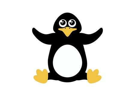 Cute Penguin vector icon. Penguin isolated on white background. Little penguin cartoon character. Sitting penguin clip art Иллюстрация