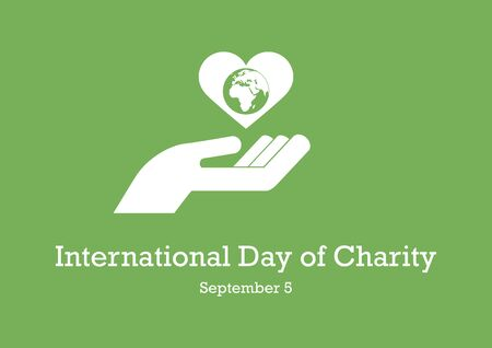 Vector Illustration Keywords: Silhouette of hands with Earth. Heart with earth icon. Day of Charity Poster, September 5