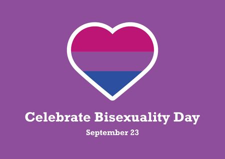 Vector Illustration Keywords: Bisexual Pride Flag Heart. Heart shape icon with bisexual pride flag. Celebrate Bisexuality Day Poster