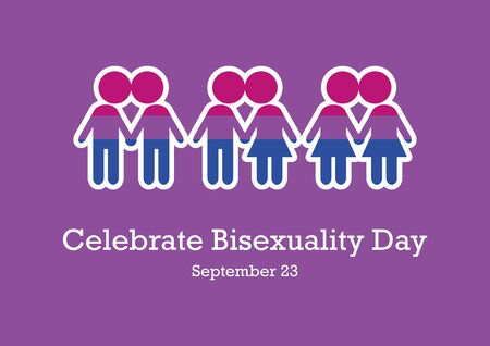Vector Illustration Keywords: Vector Illustration Keywords: Bisexual pride flag. Celebrate Bisexuality Day Poster Иллюстрация