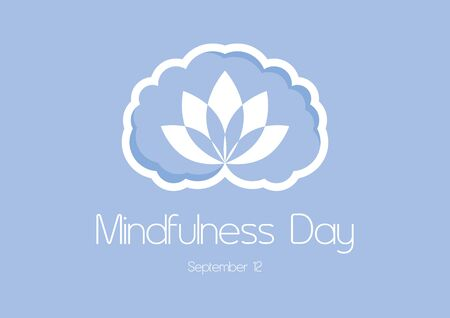 Vector Illustration Keywords: Brain graphic icon. Mindfulness Brain Vector. Brain silhouette isolated on a white background. Mindfulness Day Poster, September 12th. Important day