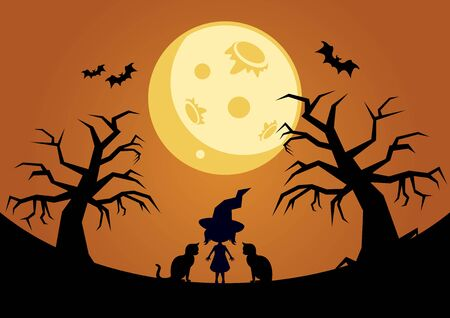 Halloween background with moon and witch vector illustration. Vector Illustration Keywords: Halloween moon background. Tree silhouette on a dark background. Vector Illustration Keywords: Иллюстрация