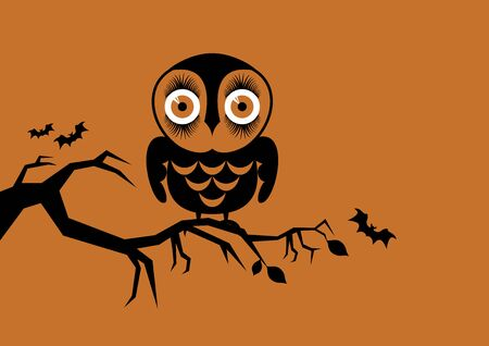Vector Illustration Keywords: Halloween owl on orange background. Vector Illustration Keywords: Abstract owl on a branch. Vector Illustration Keywords: Illusztráció