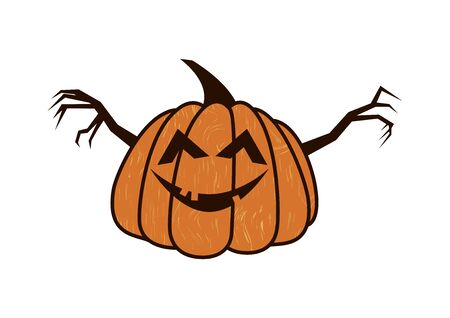 Halloween pumpkin isolated on white background. Happy pumpkin icon. Halloween pumpkin cartoon. Pumpkin with sinister smiling face