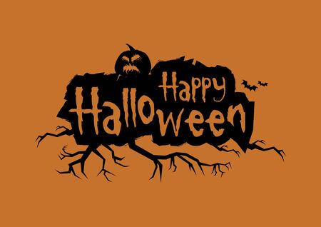 Halloween greeting card. Happy Halloween grunge inscription. Happy Halloween with pumpkin vector. Halloween pumpkin isolated on a white background Çizim