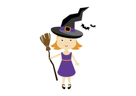Little Witch Halloween Costume Vector. Vector Illustration Keywords: Witch icon. Little cute girl in Halloween witch costume. Witch halloween costume isolated on white background