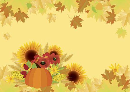 Autumn harvest background with pumpkin and sunflowers. Autumn still life illustration. Beautiful autumn decoration. Autumn harvest border. Vector Illustration Keywords: