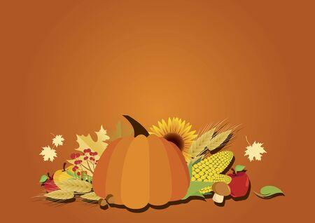 Vector Illustration Keywords: Vector Illustration Keywords: Autumn still life with pumpkin illustration. Beautiful autumn decoration with pumpkin. Autumn harvest border