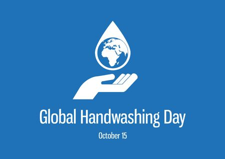 Global Handwashing Day vector. Palm with drop of water. Silhouette of hands with Earth. Important day