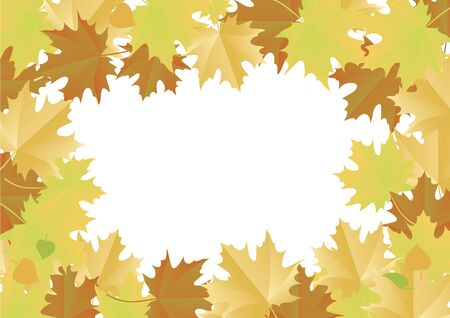 Vector Illustration Keywords: Autumn leaves border. Vector Illustration Keywords: Vector Illustration Keywords: Vector Illustration Keywords: Maple leaves on white background