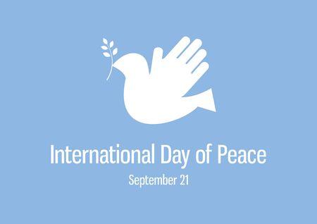 Vector Illustration Keywords: Vector Illustration Keywords: Abstract dove of peace icon. Vector Illustration Keywords: Silhouette of a dove on a blue background. International Day of Peace Poster, September 21