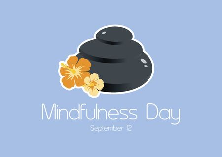 Vector Illustration Keywords: Lava stones with flowers vector. Vector Illustration Keywords: Mindfulness Day Poster, September 12th. Important day Ilustração
