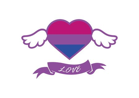 Vector Illustration Keywords: Bisexual Pride Flag Heart. Heart shape icon with bisexual pride flag. Bisexuality icon vector. Bisexuality heart symbol with wings icon Ilustração