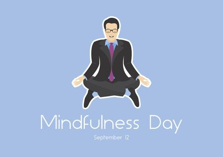 Vector Illustration Keywords: Vector Illustration Keywords: Office man in yoga position. Business man icon. Vector Illustration Keywords: Mindfulness Day Poster