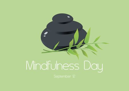 Vector Illustration Keywords: Lava stones with bamboo vector. Vector Illustration Keywords: Mindfulness Day Poster, September 12th. Important day
