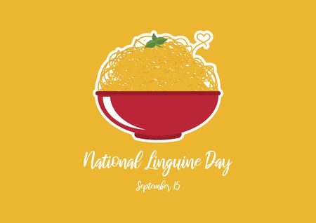 Vector Illustration Keywords: Vector Illustration Keywords: Vector Illustration Keywords: Pasta isolated on yellow background. Pasta with basil icon. Linguine Day Poster, September 15th. Important day
